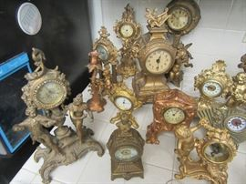 Huge clock collection vintage clocks, porcelain, cast, wood, around 100 clocks! New Haven Clock Co., Westclock, Aristocrat, Benedict, Hour Lavigne, and more!