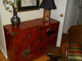 Red mahogany antique brass chest bought at R%obb Stuckeys