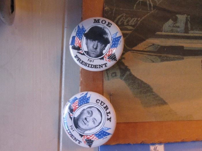 Moe & Curly For President Pins