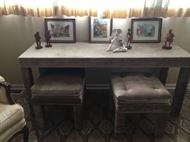 Sofa table with 2 matching ottomans