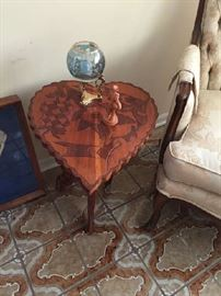 Hand carved heart tables 2 of them
