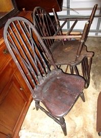 Four old farm chairs cerca early 1800 s were a gift from a former Sheriff of Orange County 60 years ago.