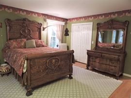 Fabulous Antique Art Nouveau Carved Bed (full/queen mattress) and matching Dresser with Mirror
