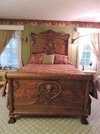Stunning Carved Oak Art Nouveau Bed with paw feet
