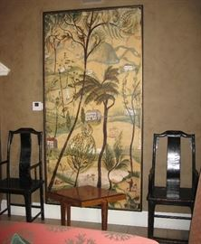 18th C. Pair of Chinese Chairs & Folk Art Painting