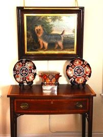 Pair of Antique Federal Mahogany Side Tables, Two Dog Paintings