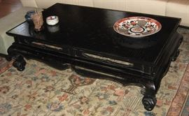 Period Chinese Low Table with Gilt Painted & Black Laquered Surface