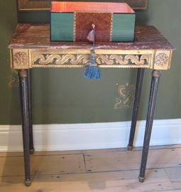 Pair of 19th C. French Gilt & Carved Side Tables with Faux Marble Painted Tops