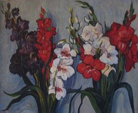 American Modernism Floral Still Life Oil Painting