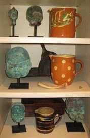 Collection of French Antique Doll Head Forms & Huge Collection of Antique French Jaspeware Pitchers