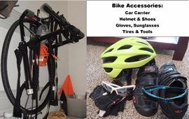 Bike AccessoriesBike accessories: car carrier, clothes, shoes, helmet, jerseys, Bell Bike trailer, bike pumps