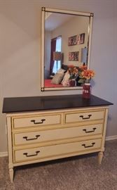 French Provincial vintage dresser with matching mirror