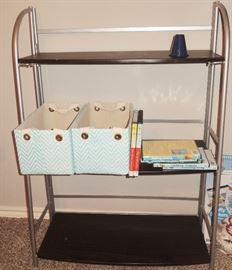 Book Cases in many sizes and colors.  Many, many baskets in various materials, shapes and sizes