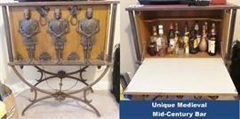 Unique vintage medieval bar with iron nights on iron base