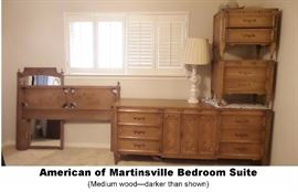American of Martinsville Full size bedroom. Headboard, wall mirror, dresser / credenza and two end tables