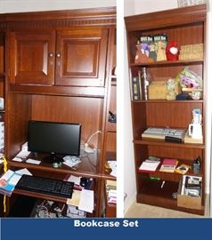 Two furniture bookcases / sets. One with pull out keyboard tray
