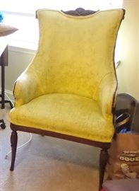 Antique chair set (2). Upholstered fabric with beautiful wood carving