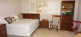 Stanley full-size bedroom. Headboard, wall mirror, dresser / credenza and end table