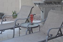 Patio Chaise Lounges, Occasional Table, BBQ Grill