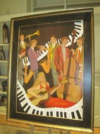 "Jamin' with the Lady in Red' original oil on canvas by Larry Martin- (canvas 36""x48"")"