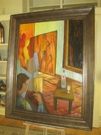 "Framed 'Maintenance' original oil on canvas by Larry Martin (46 1/2 "" x 59"")"