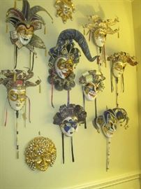 Venetian handmade paper mache wall masks- some made by Otto Bassano