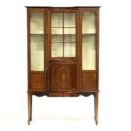 Edwardian inlaid display cabinet