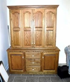 "Custom China Hutch Style Firearm Cabinet Contents Not Included, Holds 7 Long Guns, Locking Lower Drawers and Hidden Shelf Storage 78.5""t x 60""W x 15"""