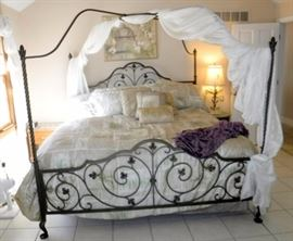King Size Metal Canopy Style Bed, Ivy Pattern Bedding, Includes Southerland Mattress Set
