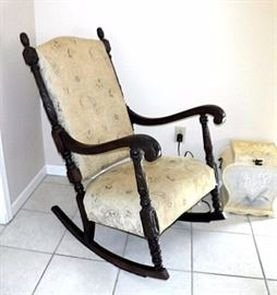 "Antique Heavily Carved Rocking Chair, Reupholstered 24""W"