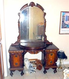 "Antique Heavily Carved Vanity/Dressing Table With Four Drawers, Half Moon Lift Top Storage Compartment, Beveled Mirror 70""T x 48""W x17.75D"
