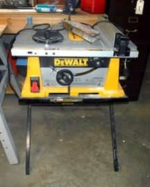 Dewalt Table Saw With Rack and Pinion Fence System on Folding Dewalt Work Table