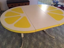 Vintage Pop Art Lemon Table with leaf