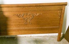 Oak queen headboard and footboard (shown) made by Lexington