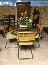 Glass and oak dining set (set of 4 chairs)