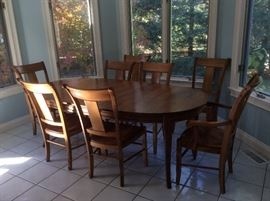 "Stunning Stickley Dining Set with 8 Chairs and Extending Table. Table pads included. Table measures 85"" long as shown (with one leaf) and 44"" wide. Another 18"" leaf not shown."