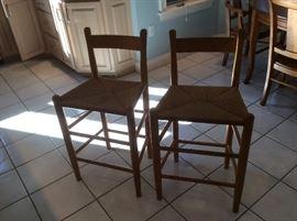 2 Cane bottom stools