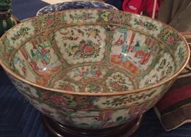 """Antique Chinese porcelain punch bowl, in the """"rose medallion"""" pattern."""