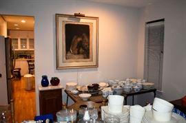 Framed artwork, porcelain, glassware.