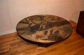 "Philip & Kelvin Laverne mid-century modern bronze ""Chan"" coffee table."