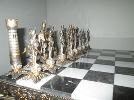 Marble and onyx chessboard.  Truly an exquisite set.