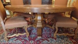 "60"" Round Inlay Dining Table $3000 original price $12,000  8 Upholstered Chairs $1600"