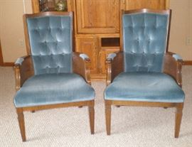 Two blue velvet side chairs, excellent condition.