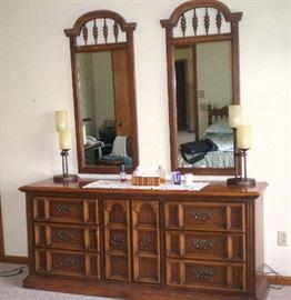 Beautiful double mirror dresser, part of king size bedroom set.