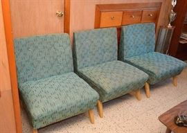 Set of 4 (only 3 shown) Mid Century Modern Turquoise Upholstered Chairs, Original Upholstery.   2 are SOLD.  There are 2 remaining.