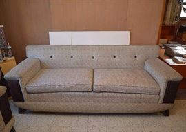 "Mid Century Modern Tufted Sofa, Original Upholstery.  (Approx. 7' long x 32"" high at the back x 33.5"" deep, seat is 21"" high) Very Good Condition with Minor Discoloring."