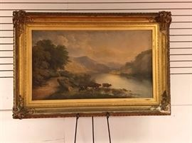 4 Ft x 28 inch Monumental Hudson River Oil circa 1850? *Original untouched condition