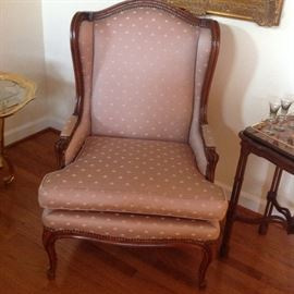 Rose Colored Cushion Wing Back Chair