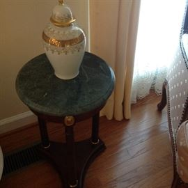 Small Ocassional Table with Green Marble Top