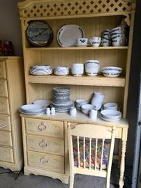 desk, chair and hutch, matching dresser, vintage dishes, vintage FrigiKing thermometer